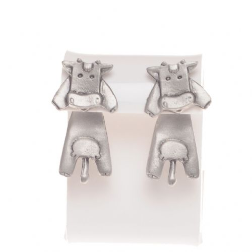 Handmade Pewter Cow Earrings